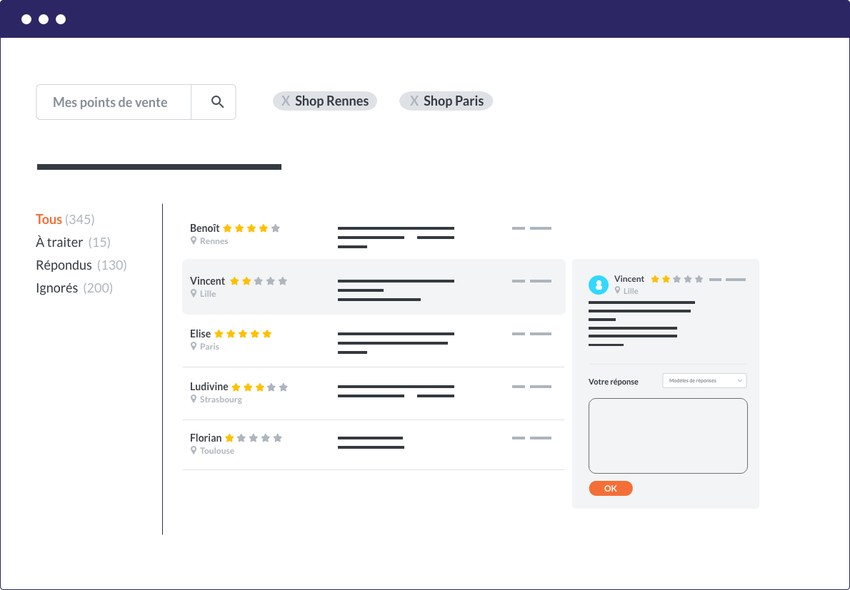 Centralize the customer reviews of your network